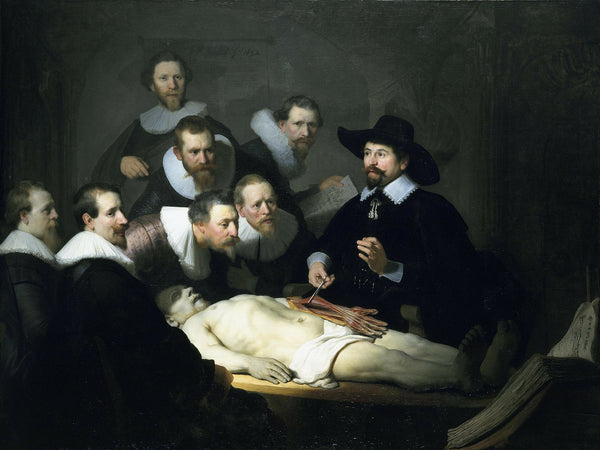 A painting depicting medical student in a surgical class
