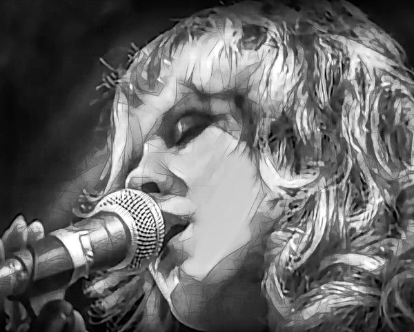A black and white painting of Steve nicks on stage