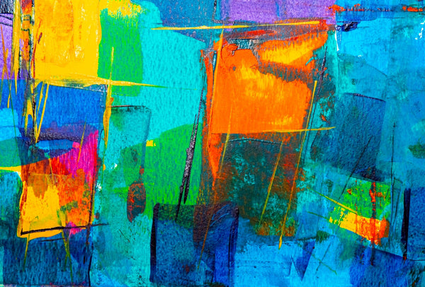 A blue and orange abstract painting