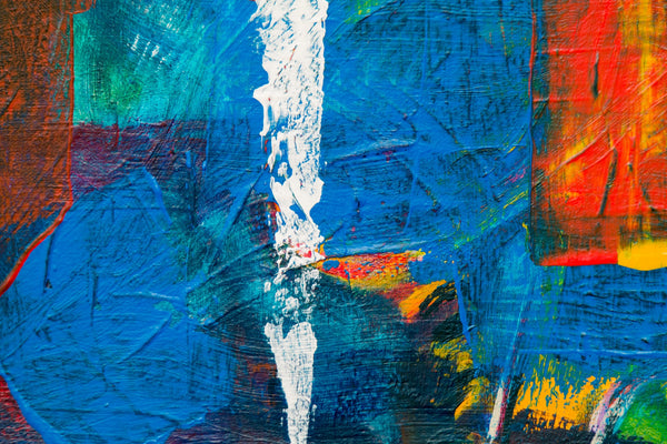 A blue red and white abstract painting