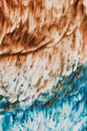 A brown and blue abstract painting
