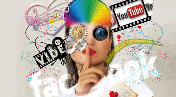 A graphic illustration with a woman showing the interaction of social media
