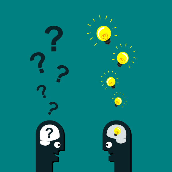 A graphical representation of the question questions man and the light bulb man