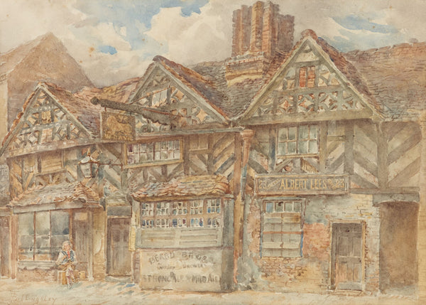 A grey and brown painting of the birmingham muse