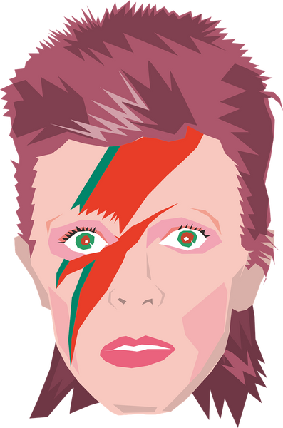 A multi colored painting of David bowie