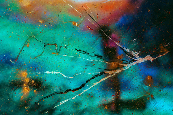 A multi colored abstract painting