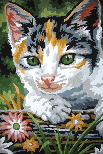 A paint by numbers painting of a kitten