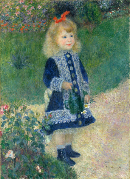 A painting of a girl with a watering can