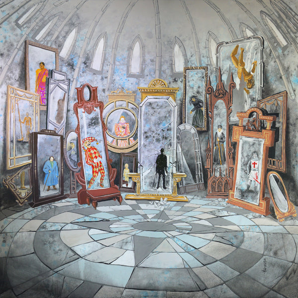A painting of a room full with mirrors with a reflection of the viewer