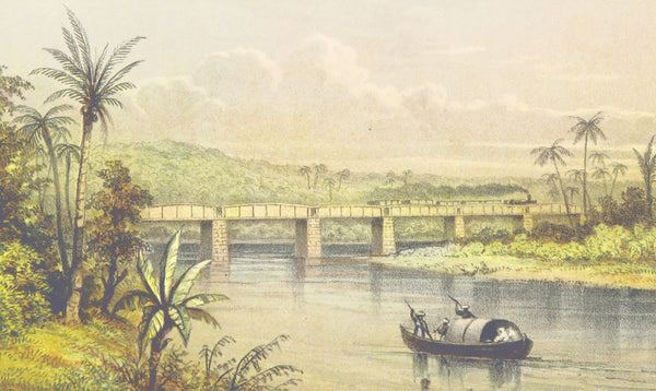A painting of a sailing boat near a bridge