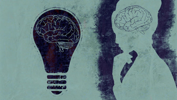A painting of a woman and a light bulb brain mind