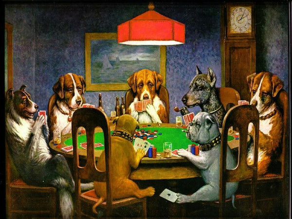 A painting of dogs sitting on a table playing cards