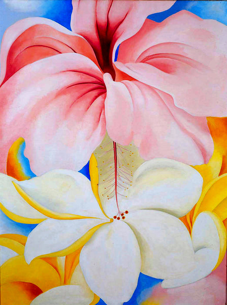 A painting of hibiscus with plumeria
