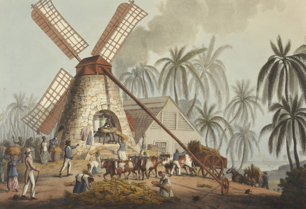 A painting of people working in a windmill