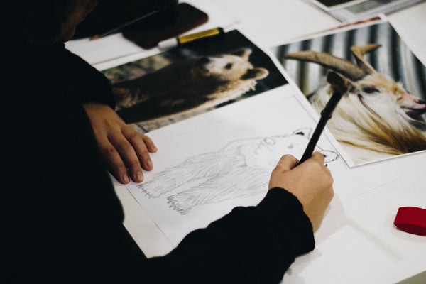 A photo of a person drawing a brown bear on a paper photo
