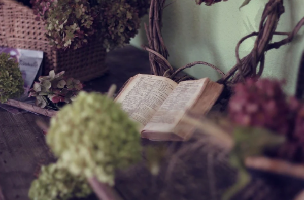 A photo of an open book with flowers in a basket