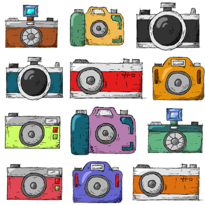 A photo of various cameras painted with different colors