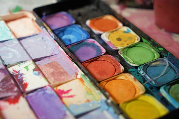 A photo of various water colors