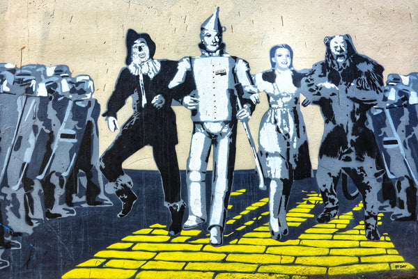 A picture painting from the scene in wizard of oz