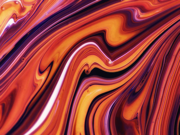 A red orange white multi colored painting