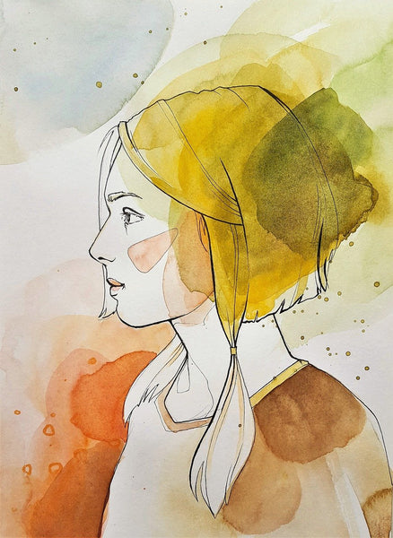 A yellow red and brown water color painting of a woman
