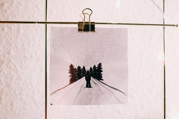A well-defined tree silhouette painting