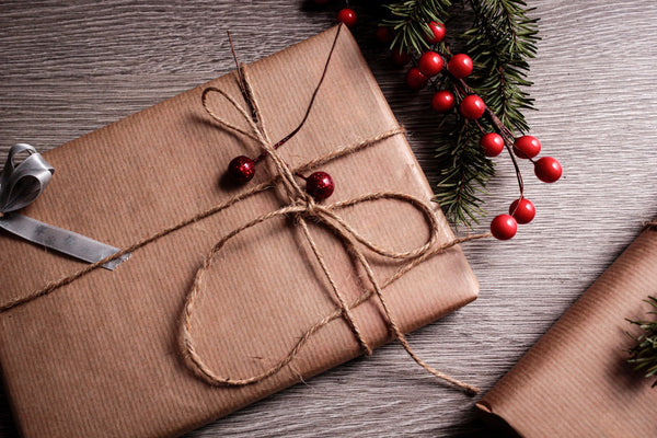 A gift wrapped for Christmas