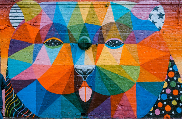 An abstract painting of what appears to be a dog