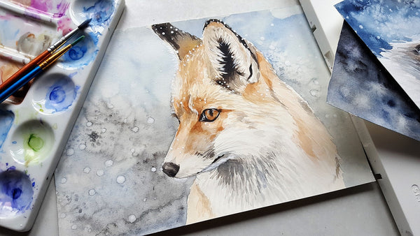 A fox in nature being painted
