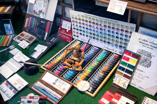 Art supplies being prepped for use