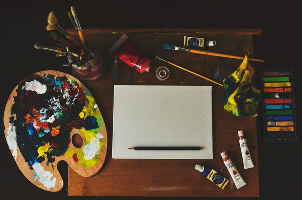 An assorted array of equipment used for painting