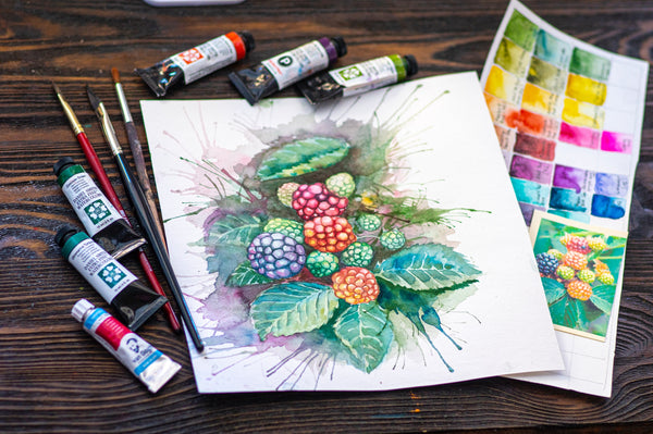 Beautiful painting on a table with painting tools