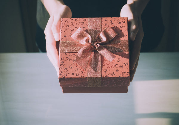 A brown colored gift box