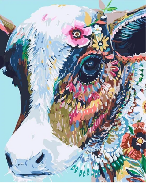 Colorful cow painting kit from the BestPaintbyNumbers website