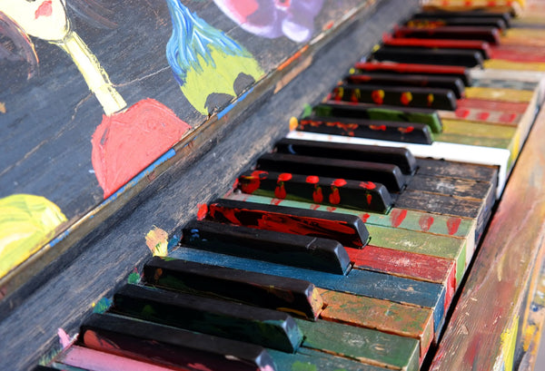 Colorful piano ready to be played
