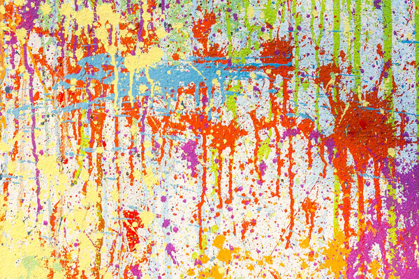 A colorful completed splash painting