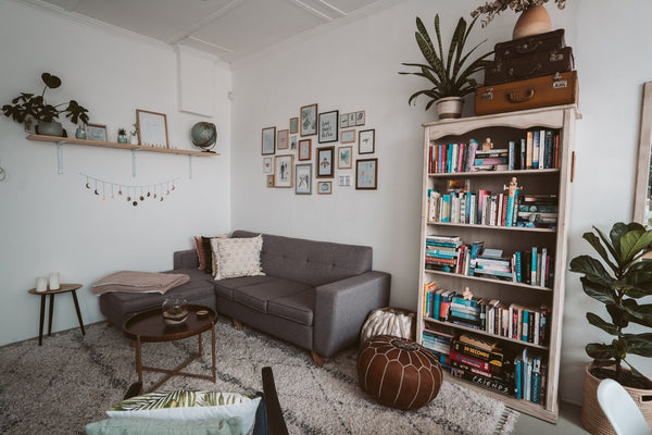 A cozy living room that looks like a DIY project