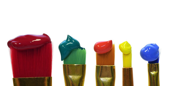 Different brush sizes with paint