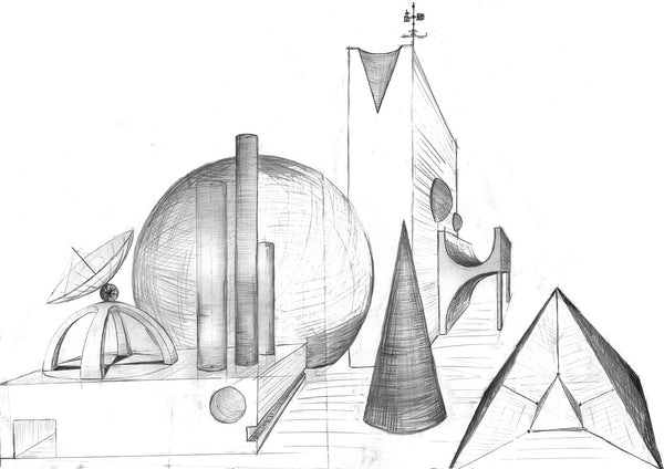 Fantasy architecture drawn with hand