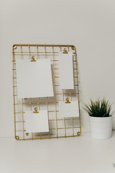 A wire mesh board made of gold