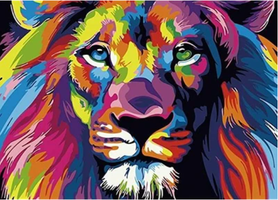 Psychedelic Lion Paint by Numbers painting
