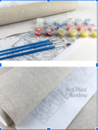 A Printed canvas, brushes and paint pots