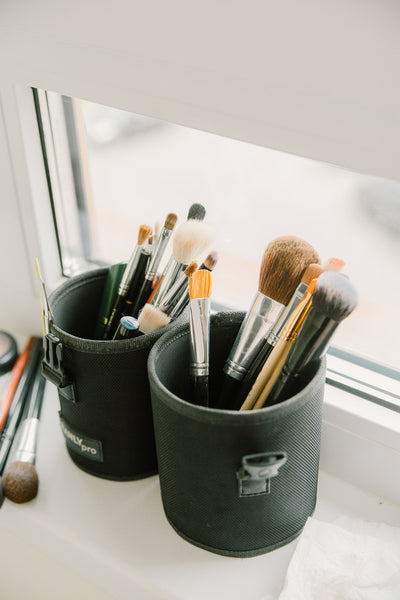 Set of makeup equipment preparing to be used