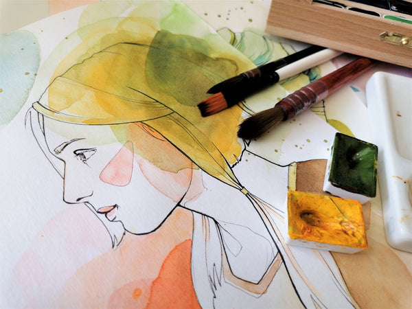 Watercolor painting of a lady