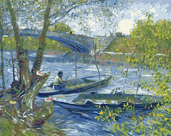 Fishing in Spring - Van Gogh - 1887 - BestPaintByNumbers - Paint by Numbers Custom Kit