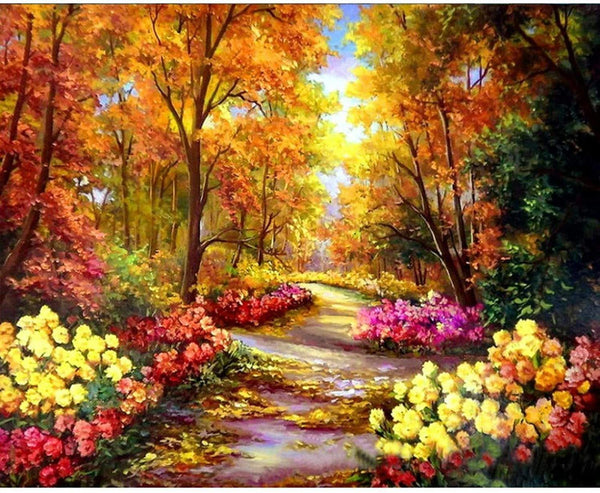 Flower Clad Road - BestPaintByNumbers - Paint by Numbers Custom Kit