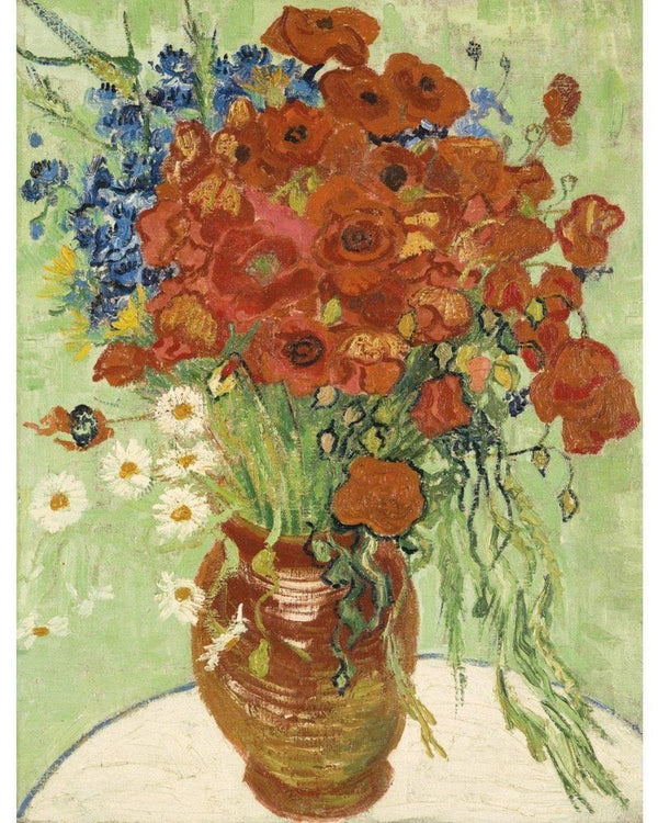 Vase with Cornflowers and Poppies - Van Gogh - 1890 - BestPaintByNumbers - Paint by Numbers Custom Kit
