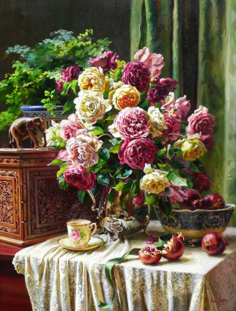 Tea Time with Flowers - BestPaintByNumbers - Paint by Numbers Custom Kit