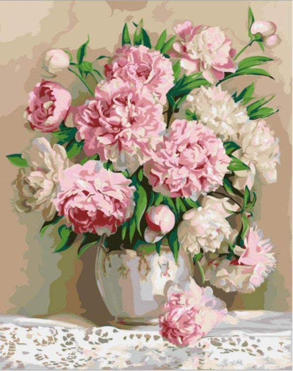 Pink Peonies in Vase - BestPaintByNumbers - Paint by Numbers Custom Kit