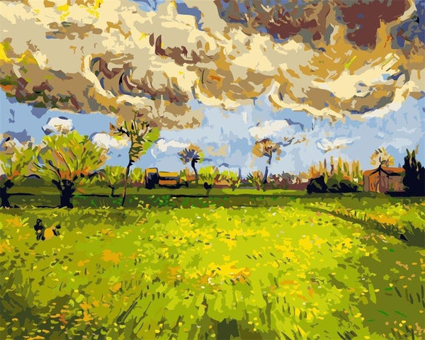 Landscape under a Stormy Sky - Van Gogh 1888 - BestPaintByNumbers - Paint by Numbers Custom Kit